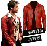 Red Leather Jacket Fight Club Brad Pitt