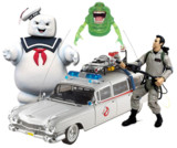 Vintage Ghostbusters Action Figures, Ecto-1 Car, Slimer Toy, Stay Puft Marshmallow Man Figure