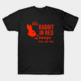 rabbit in red lounge halloween movie t-shirt