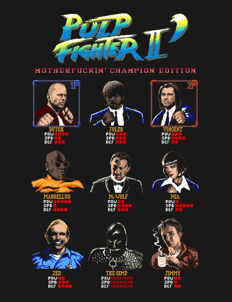 street fighter pulp fiction t-shirts