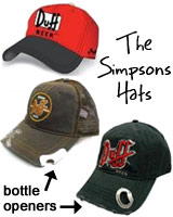 the simpsons hats, duff beer bottle opener hats