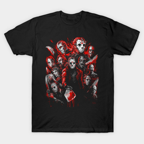 Friday the 13th Jason Voorhees Faces t-shirts